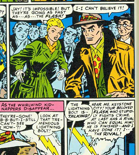 Panels from a Flash story, 1949.