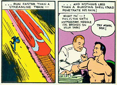 Panels from the first Superman story.