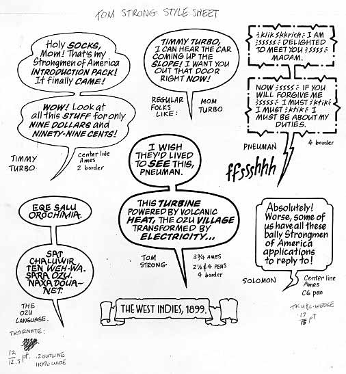 Tom Strong lettering style sheet