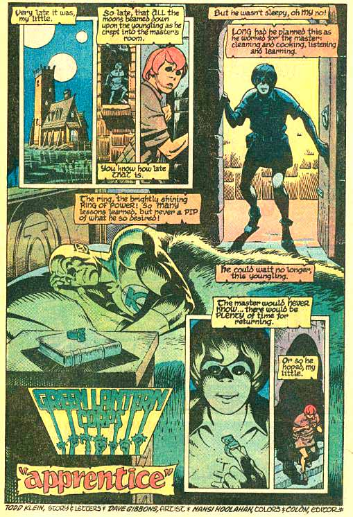 Apprentice page 1 by Todd Klein and Dave Gibbons.