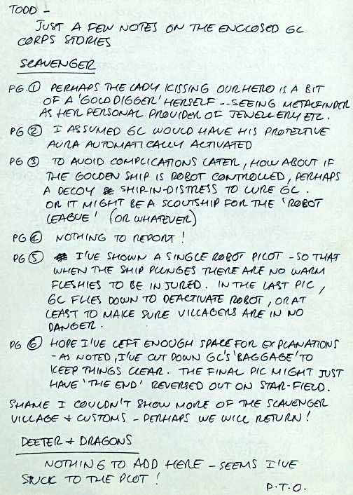 Green Lantern Corps notes by Dave Gibbons page 1