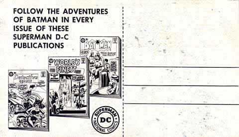 Back of Batman and Robin postcard.