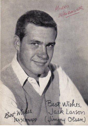Jack Larson postcard with autographs.