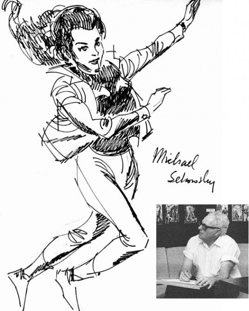 Wonder Woman sketch by Mike Sekowsky and photo of him by Jack Adler.