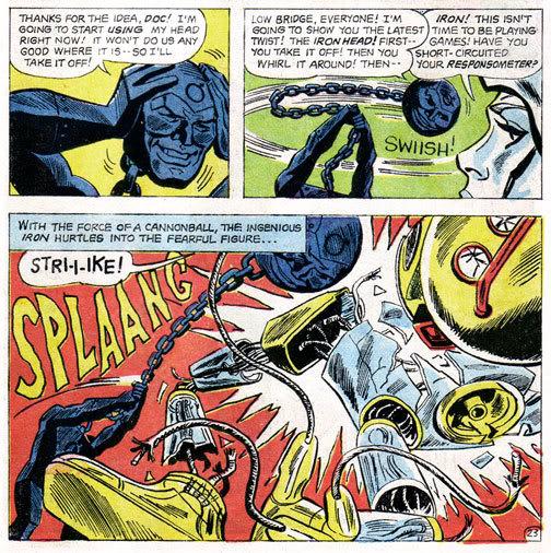 Metal Men sample panels, DC Comics.