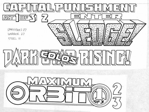 Todd Klein lettering for covers 3