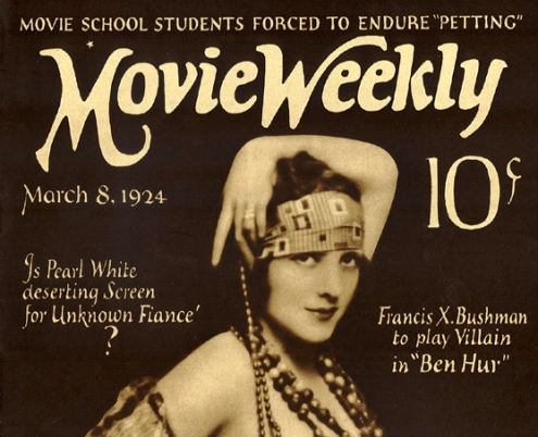 Hand-lettered titles on Movie Weekly 1924.