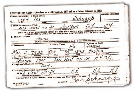 Ira Schnapp WW2 draft card.