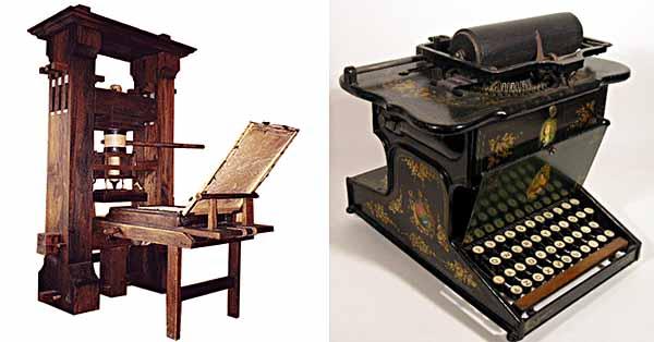 Gutenberg printing press, Sholes-Glidden typewriter