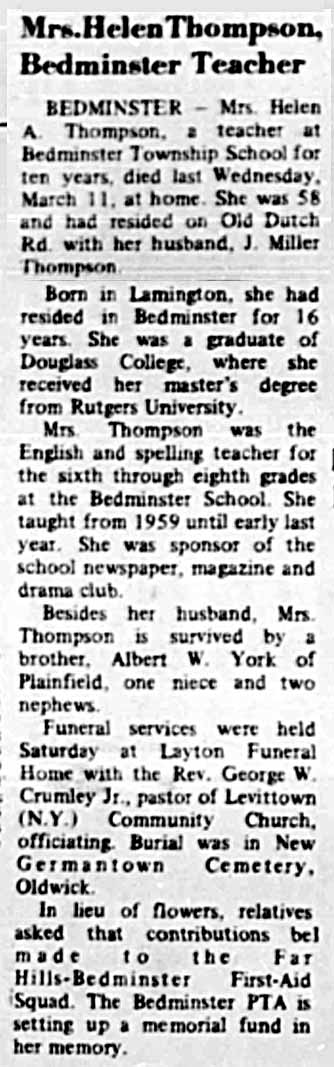 Helen Thompson Obit 03191970