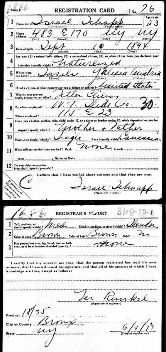 1917_06_05 Israel Schnapp WWI Draft CardBlog