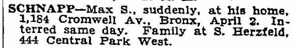 1936_04_03 Max S Schnapp Dead NYT