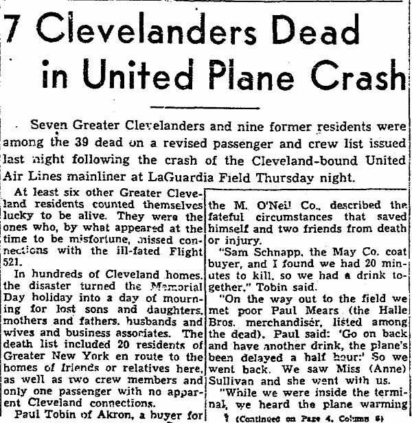 1947_05_31 Sam Schnapp Cleveland Plain Dealer