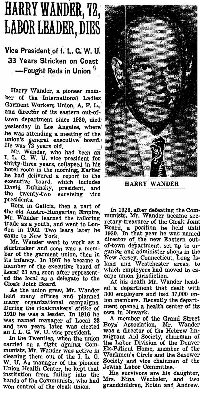 1951_09_12 Harry Wander Dead NYTBlog