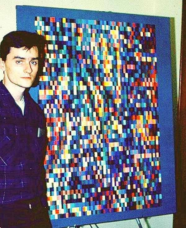 Dave Hunt in 1966 with his painting.