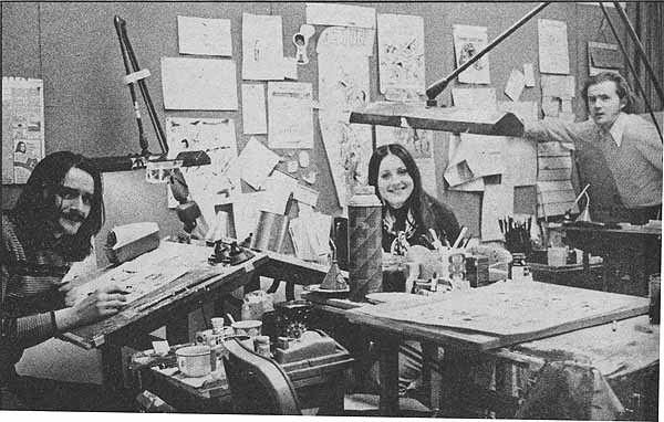 Dave Hunt with Linda Lessman and Don McGregor in the Marvel Comics bullpen, 1973.