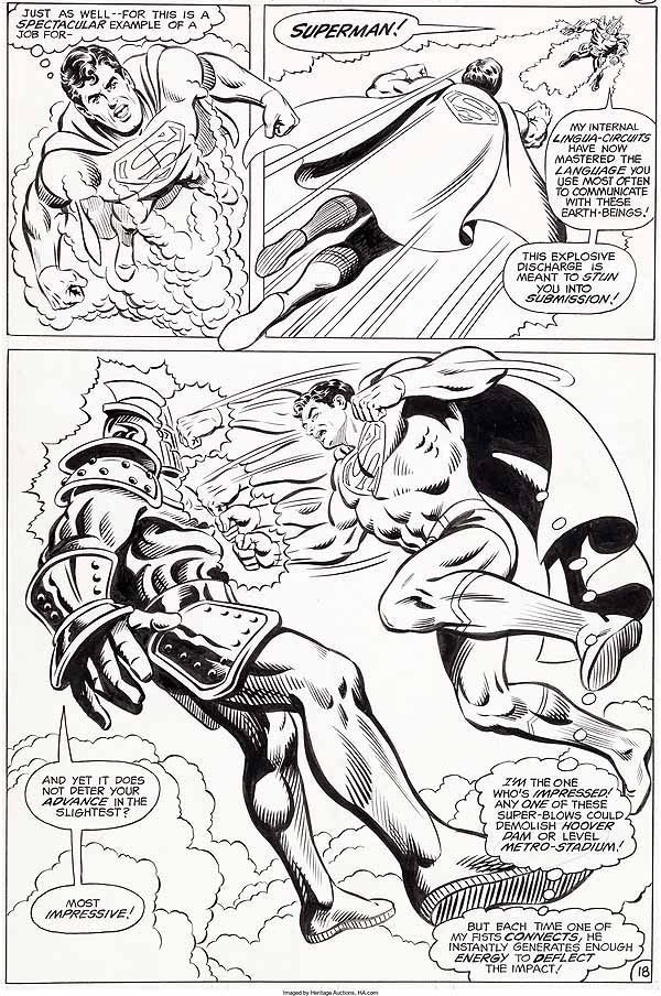 Superman page inked by Dave Hunt.