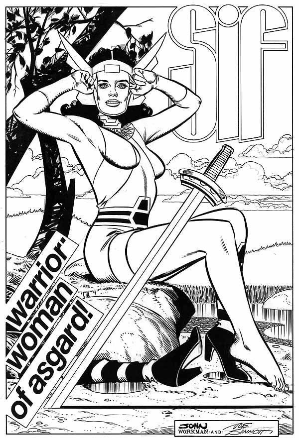 Sif pinup by Workman inked by Sinnott