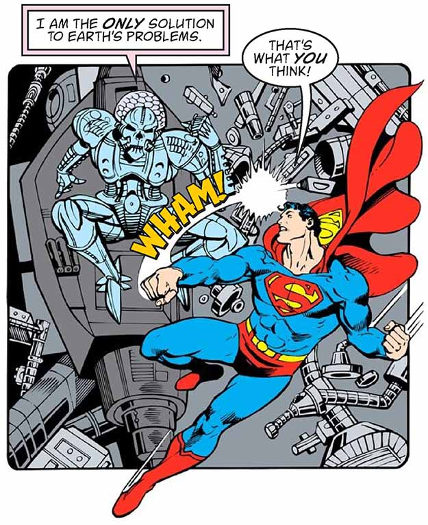 Superman and Bizarro with new lettering by Todd Klein.