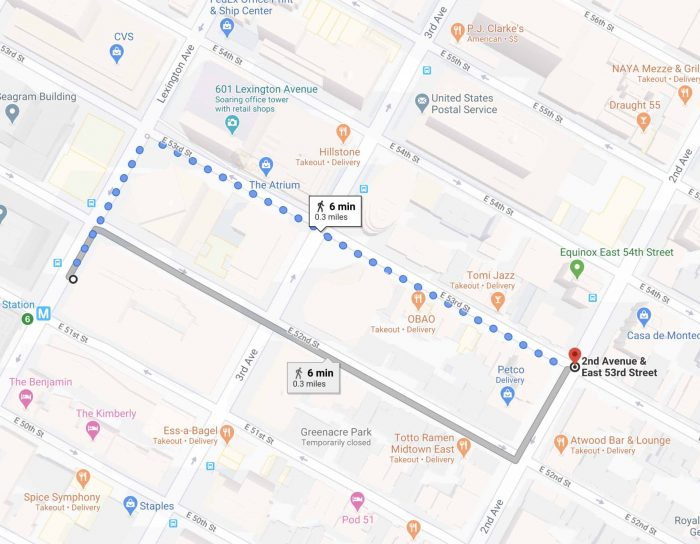 Walking map to 575 Lexington Ave from 2nd Avenue and 53rd Street, Manhattan.