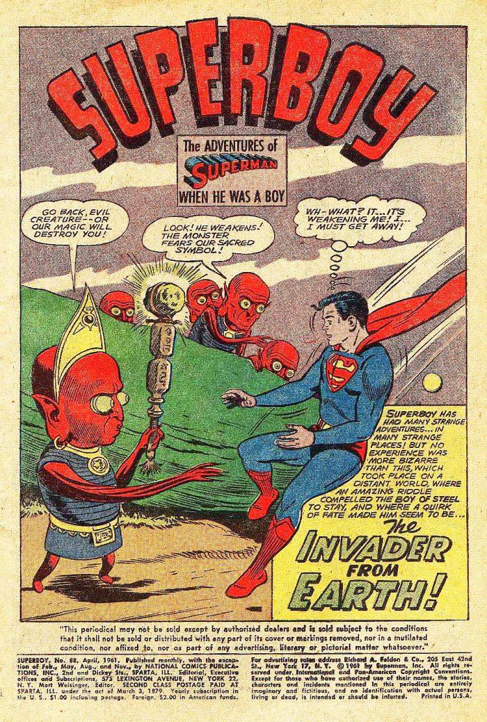Superboy 88 page 1, April 1961.
