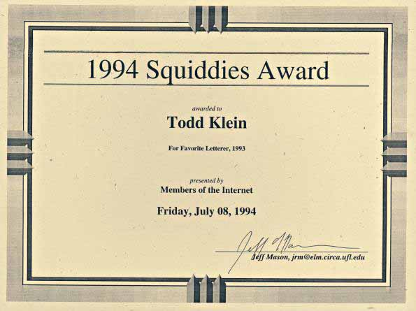Squiddies Awards